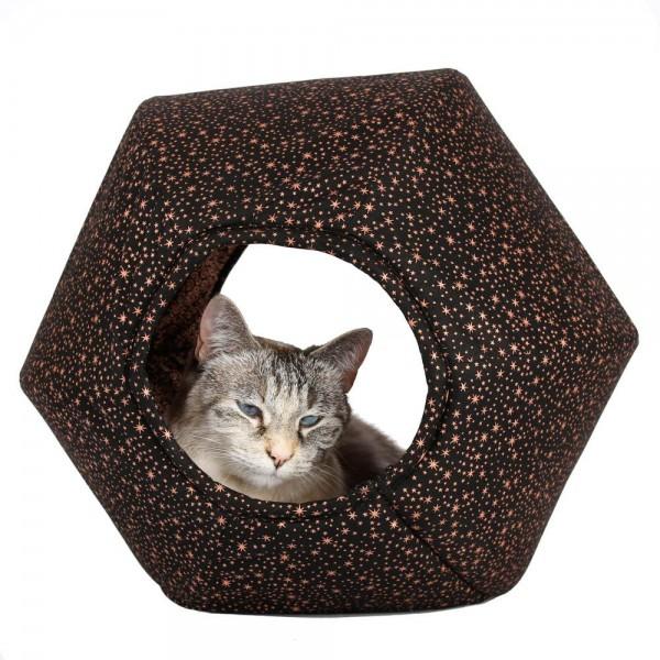 The Cat Ball copper stars (Metallic-Kupferdruck auf Schwarz)