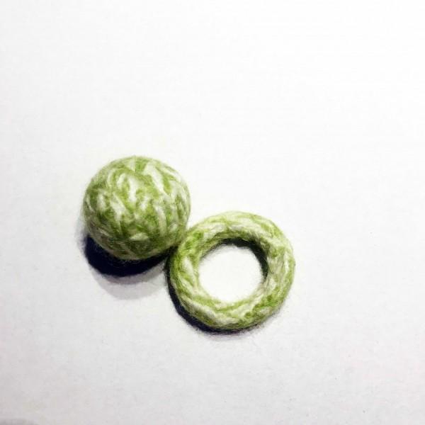 Set tweed ball & ring