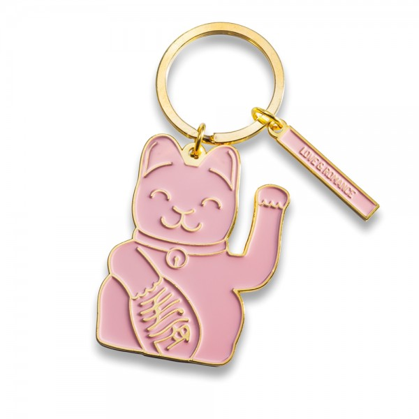 Maneki Neko Key Ring - pink