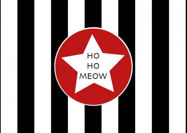 """Weihnachtskarte """"ho ho meow"""""""