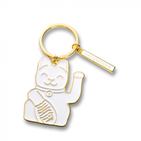 Maneki Neko Key Ring - weiss
