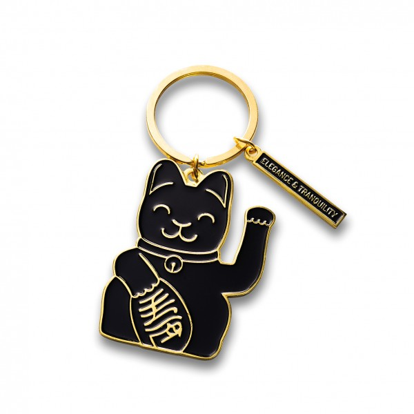 Maneki Neko Key Ring - schwarz