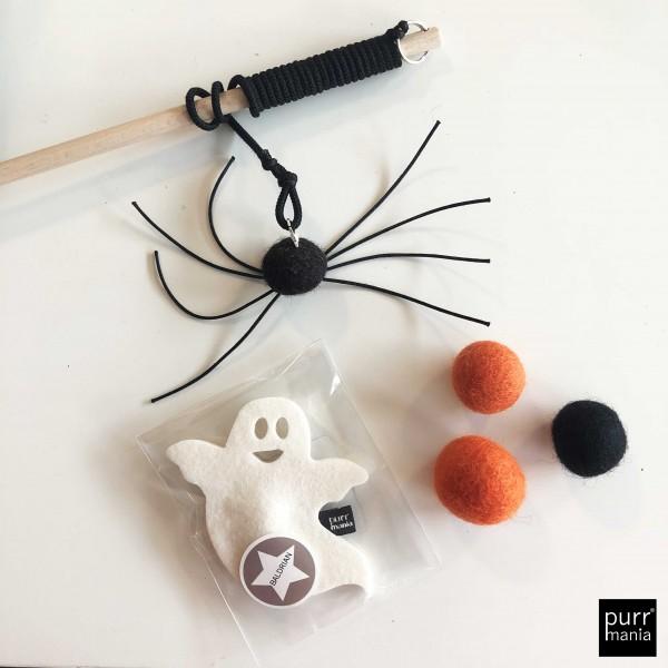 Set Halloween: Spinnenangel, 3 Filzbälle, Baldrian-Geist