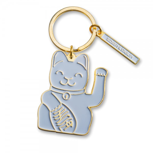 Maneki Neko Key Ring - grau