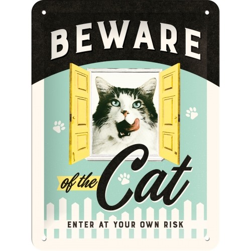 Blechschild 15 x 20 cm Beware of the Cat