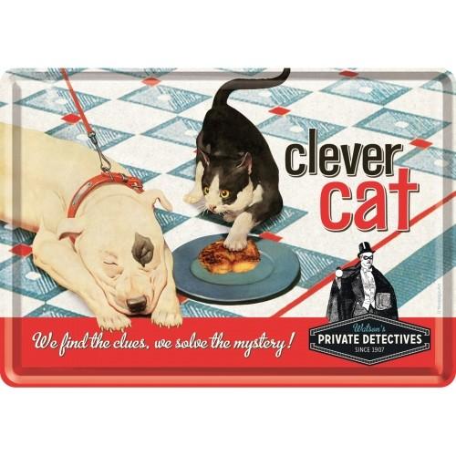 Blechpostkarte 10 x 14 cm Clever Cat