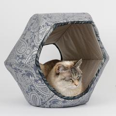 The Cat Ball silver paisley (Silberdruck auf Blau)