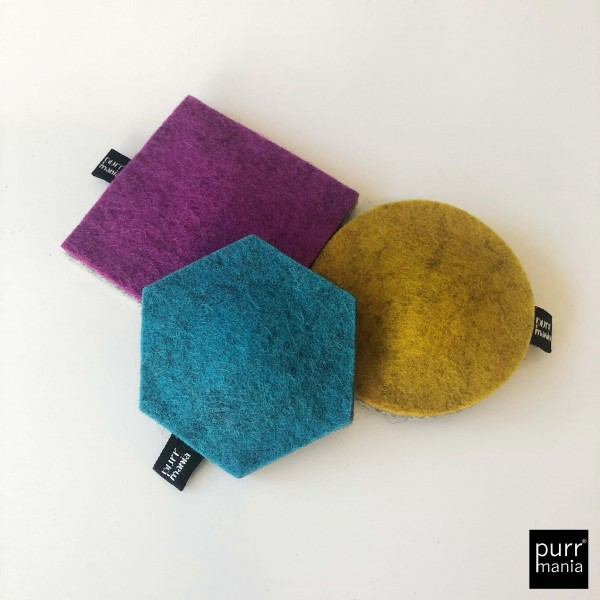 big geo Set: wooly hexagon (Catnip) & wooly dot (Baldrian) & wooly square (Matatabi)